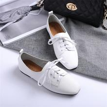 2018 New Womens Shoes Casual Derby Brogue Woman Ballet Flats Microfiber Leather Ladies Lace-up Square Toe Best Sellers