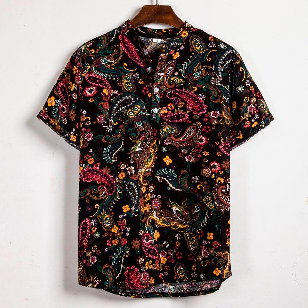 Hawaiian Shirts Linen Shirts Men Lump Chest Button Short Sleeve Round Hem Casual Loose Shirts Tie Henley Men Shirt Summer Camisa