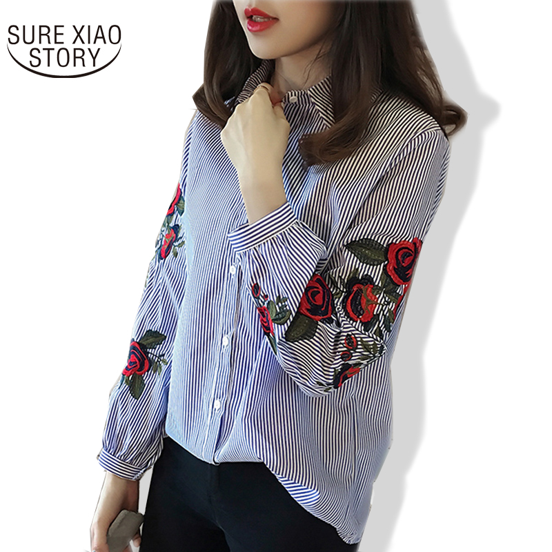 SURE XIAO STORY Striped Shirt embroidery Female casual top