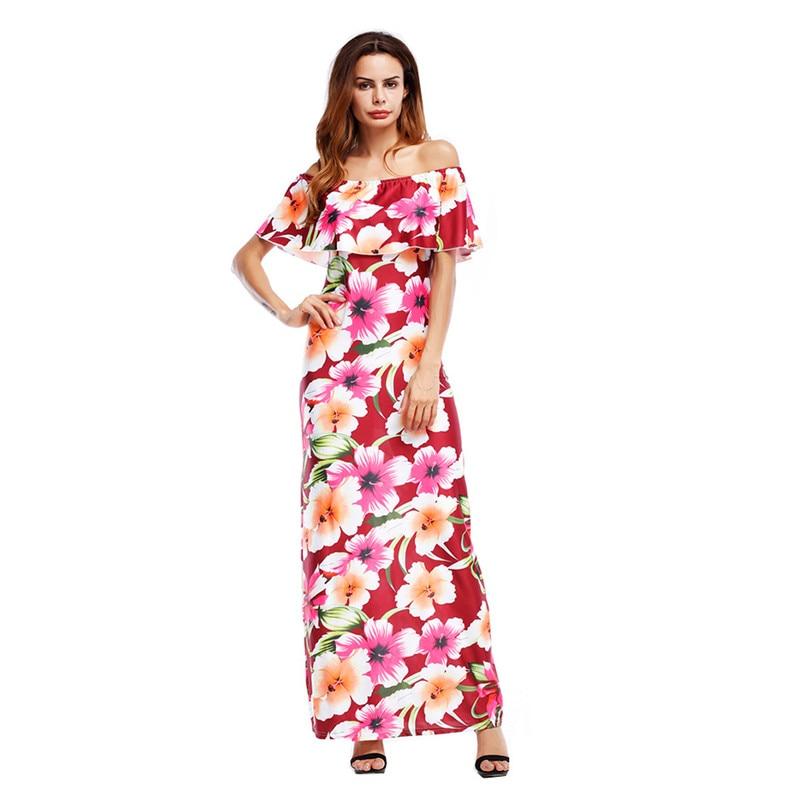 Women Boho Maxi Dress 2017 Floral Off Shoulder Ruffled