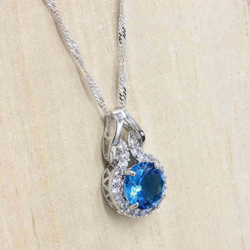 Gümüş renk kadınlar takı açık mavi taşlar yuvarlak şekilli kolye kolye için parti