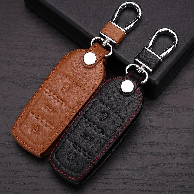 Натуральная Кожа Ключа Автомобиля чехол Для Volkswagen VW Passat CC Авто Аксессуары Смарт Серии Черный брелок