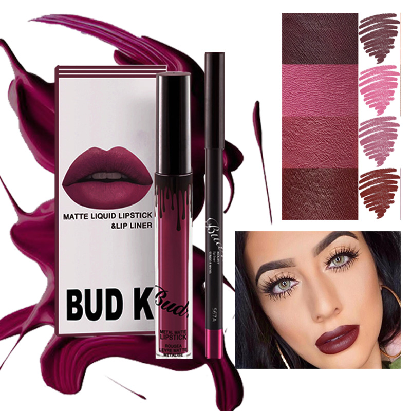 BUD K  Matte Liquid Lipstick Cosmetic Lip Kit+Lip Liner Pencil Lip Gloss Mate Waterproof  Kyliejenner LIPSTICK 2PCS/Set NEW