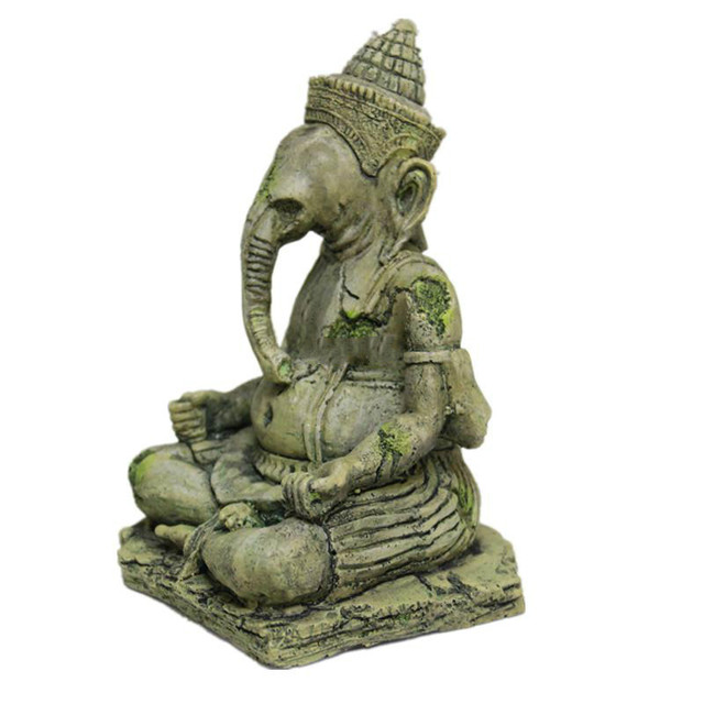 Fish Tank Artificial Elephant Head Buddha Decoration Aquarium Buddha Stone Ornament Sitting Statue Crafts For Fish Reptile