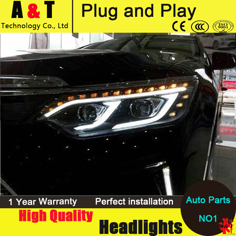 Car Styling New Arrival Headlight for Toyota Camry V55 headlights 2015 Camry LED Headlight led drl H7 hid Bi-Xenon Lens low beam car styling for toyota camry v55 led headlight 2015 new camry headlights drl lens double beam h7 hid xenon
