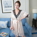 Free Shipping 2016 New Arrival Robe Sets For women's Nightwear Lace Sleepwear Robe + Suspender Nightgown Two Pieces Wholesale