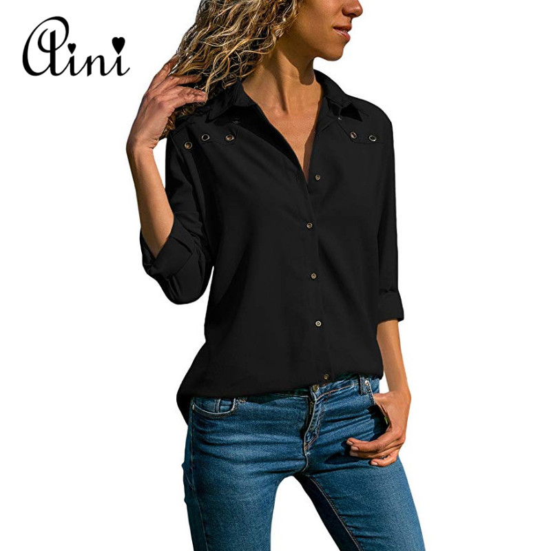 Plus Size 5XL Women Tops And Blouses 2018 Autumn Casual Solid Hollow Out Button Cotton Blouse Elegant Office Lady Female Shirts