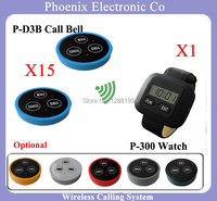 Restaurant Waiter Calling System For Guest Paging For Equipment For Cafes 15 PCS Table Bells & 1 Watches P 300