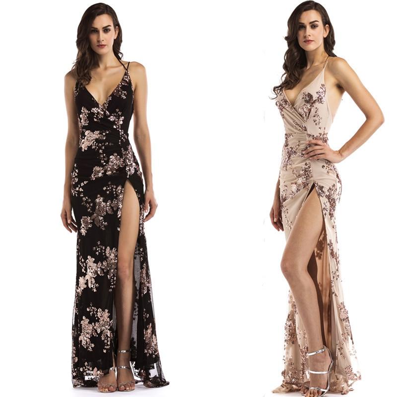 Sexy Sparkle Long Evening Dresses Mermaid V Neck Sequined High Split Backless Women Formal Dresses Vestidos De Fiesta De Noche