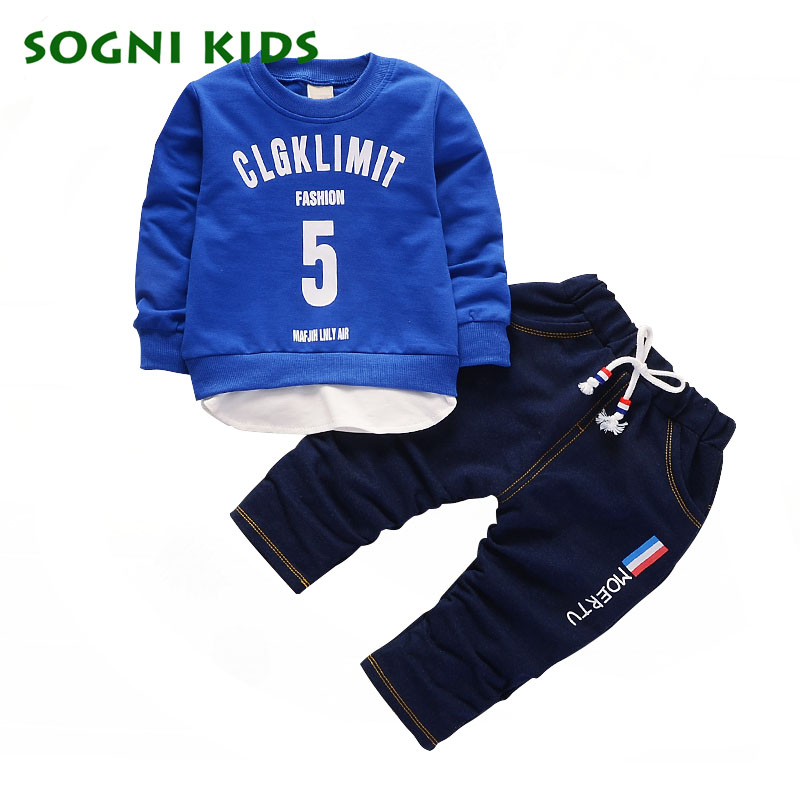 Fashion Boys Clothing Set 2017 Autumn Letter Print Kids Cotton T Shirt + Jeans 2 pcs/Set Leisure Suit For Boys Clothes Set