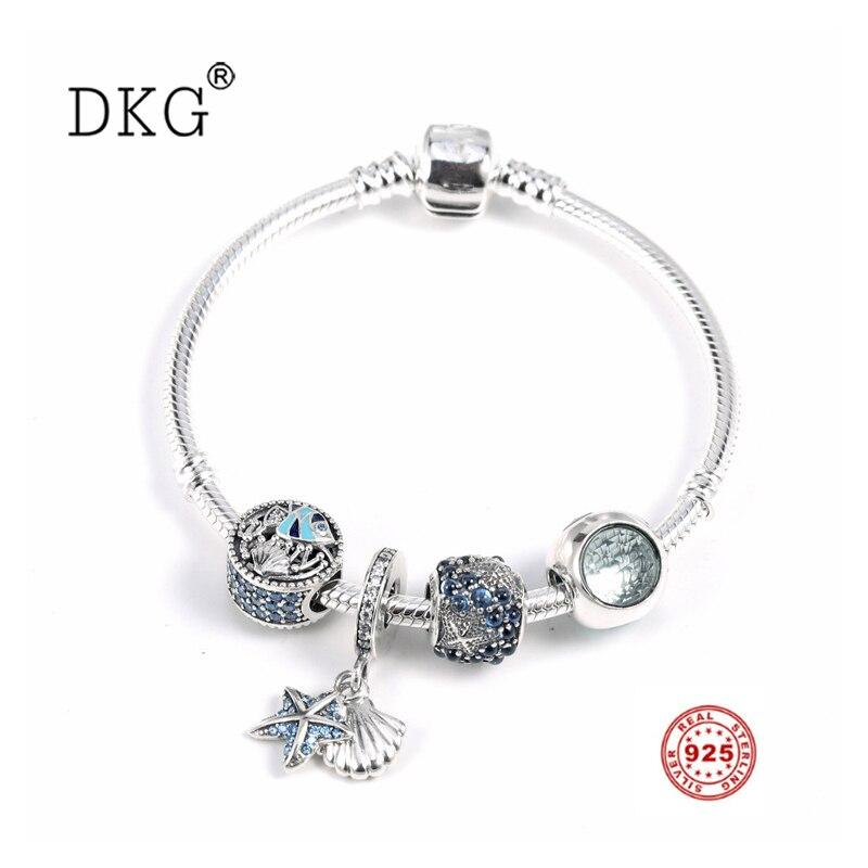 925 argent Sterling Pan Original océan bleu foncé étoile de mer avec perle de cristal ensemble CZ clair Fit femmes bracelet perle charme bijoux à bricoler soi-même