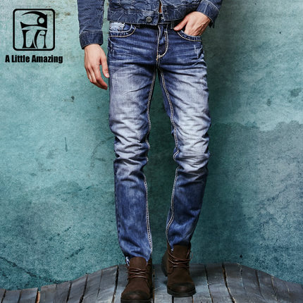 Free shipping 2017 Winter Thick Mens Distressed Jeans Male Fashion Denim Cargo Pants Vintage Washed Casual Pants 062101