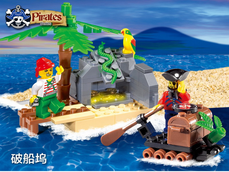 314 ENLIGHTEN Pirate Series Pirate Ship GEM TRANSFER Model Building Blocks Action Figure font b Toys