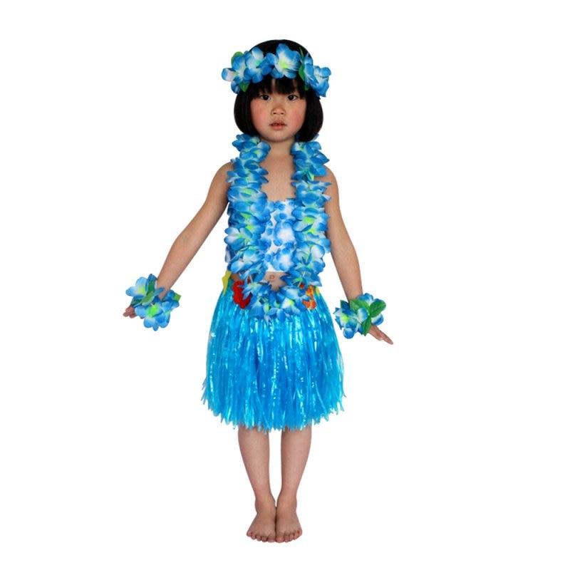 ADULTS CHILDRENS KIDS HAWAIIAN HULA SKIRT /& LEI HEADBAND WRISTBANDS FANCY DRESS