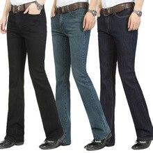 Darmowa wysyłka męskie spodnie jeansowe bell slim, czarny róg jeansy typu boot cut odzież męska casual Business flary spodnie 36