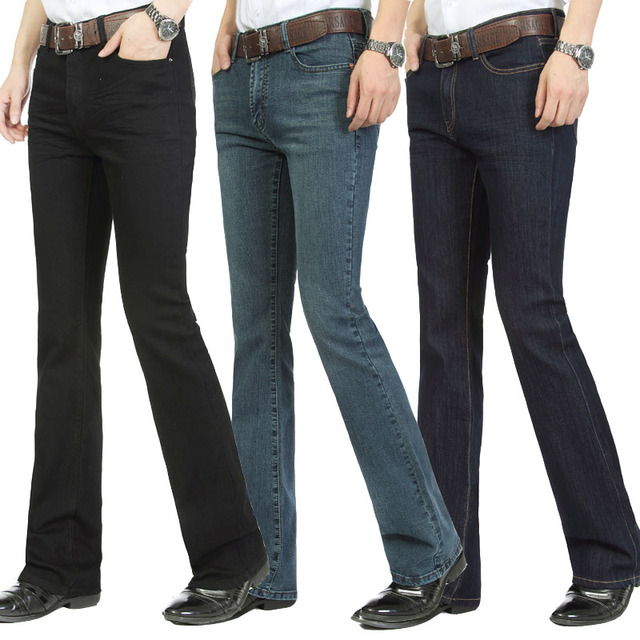 Free Shipping Male bell bottom denim trousers slim black horn Boot Cut jeans mens clothing casual Business Flares trousers 36