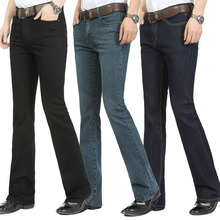 Ücretsiz kargo erkek çan alt denim pantolon ince siyah boynuz çizme kesim kot erkek giyim rahat iş fişekleri pantolon 36