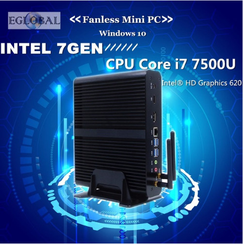 [7th Gen Intel Core I7 7500U] Fanless Kaby Lake Mini PC Windows 10 Max 3.5GHz Intel HD Graphics 620 Micro PC 4K HTPC Linux Kodi