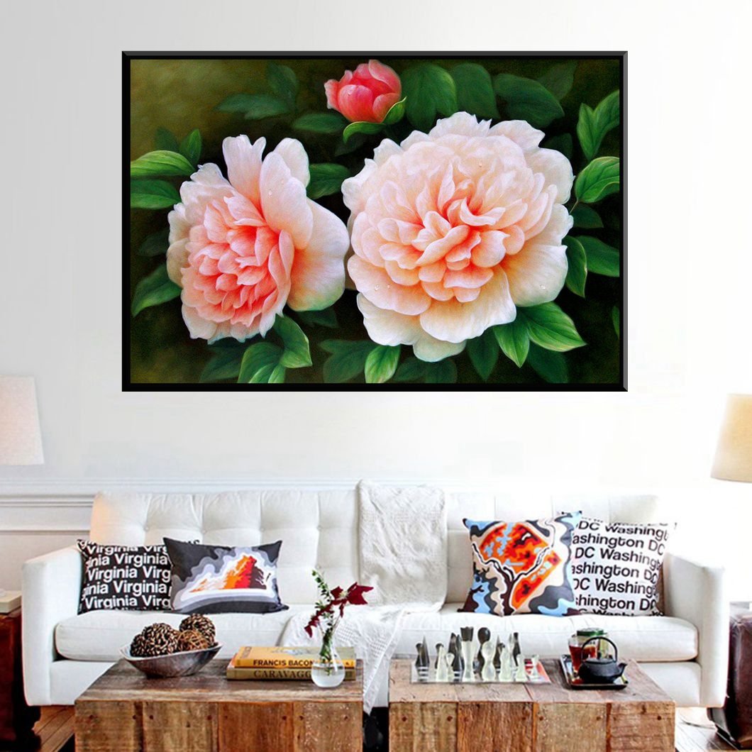 Online Shop 1PC Color Beautiful Artwork Oil Flowers Painting Canvas Prints High Quality For Living Room Office Decor Wall Art Drop Ship