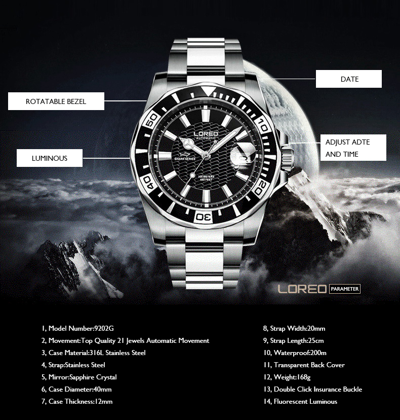 LOREO Mens Sport 20ATM Water Resistant Luminous Rotatable Bezel Stainless Steel Strap Single Calendar Automatic Mechanical Watch