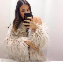 2018 new white faux fur coats and jacket for women long sleeve fashion elegant female autumn winter outwear fuffly fake fur coat