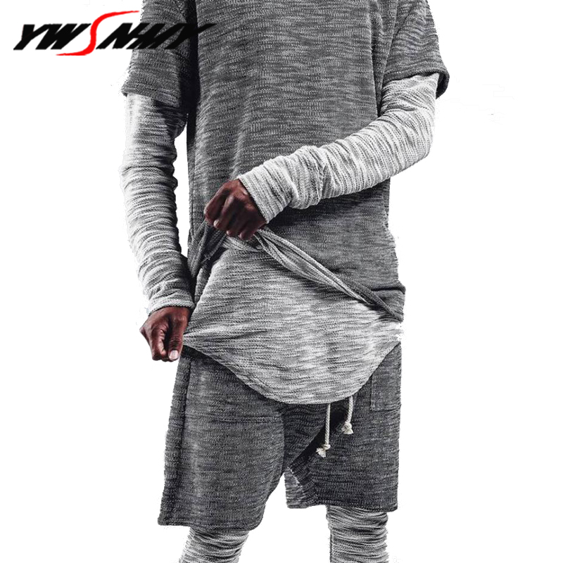 New fashion casual 2018 Mens male sporting suit autumn fake two-piece long-sleeved t shi ...