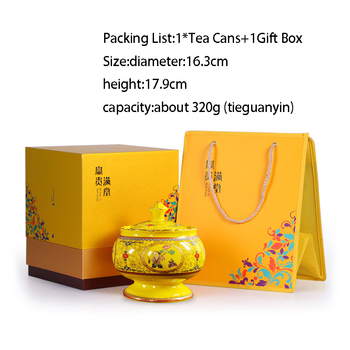 Ceramic Coffee Canister | Chinese Palace Style Ceramic Tea Cans Puer Longjing Kung Fu Gift Box Tea Set Coffee Candy Nut Canister Multifunction Storage Jar