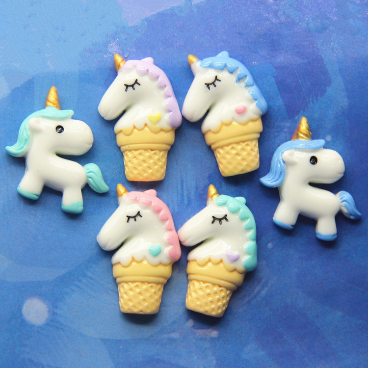 100pieces Handmade Resin Unicorn Accessories Diy Hair Accessories Necklace Supplies Reputation First