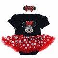 1 Ano novo Aniversário Do Bebê Roupas de Menina Da Criança Bodysuit macacões de bebê meninas Minnie vestido bebe primeiro aniversário da menina vestido romper