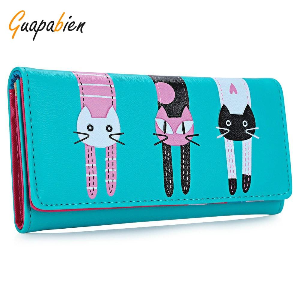 guapabien novo 2017 mulheres gato Interior : Photo Holder, bolso Interior do Entalhe, coin Pocket, note Compartment, suporte de Cartão