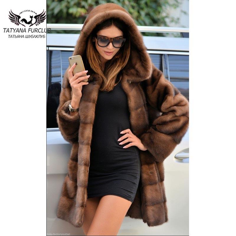 Tatyana Furclub manteau de fourrure réel vison manteau de fourrure pour les femmes 80 Cm Long lâche vison manteaux de fourrure avec grande capuche à la mode fourrure de peau entière