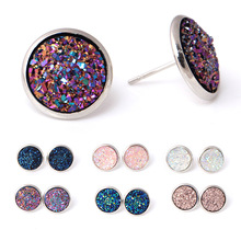 Simple and stylish crystal cluster earrings sweet color sequin stud ear jewelry