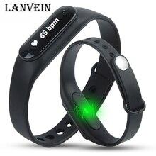Lanvein Smart Браслет Heart Rate Мониторы браслет Bluetooth 4.0 пульсометр шагомер Фитнес трекер для Android 4.4 IOS 7.0