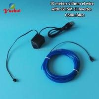 2017 10 Renkler Mevcut Esnek 2.3mm 10 M Mavi EL Tel Halat tüp LED Neon Soğuk Işık Dance Party Decor Ile 5 V USB denetleyici