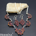 HERMOSA Jewelry Exquisite charming 925 Sterling Silver Red Garnet Jewelry Trendy Retro Earring Necklace Set HF965