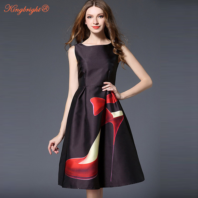 ea3c51efe0e2 King Bright 2017 high heels black print vintage dresses european style cute  party dress summer dress sleeveless vintage dress