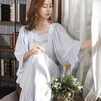 Plus size 4XL retro court lace nightdress soft Silky fabric sleep female sweety ruffles dress palace princess sleepwear wq1916