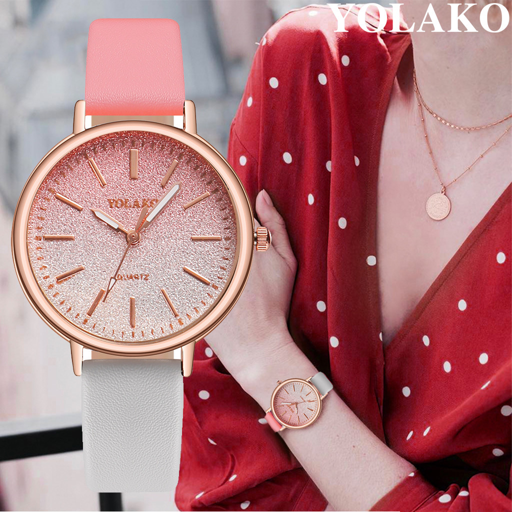YOLAKO Fashion WristWatch Retro Rainbow Design Women Dress Watch Quartz Leather Watches gift for lovers Montre Relogio 533