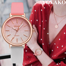 YOLAKO Fashion WristWatch Retro Rainbow Design Women Dress Watch Quartz Leather