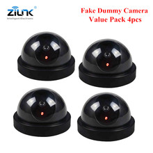 4pcs Fake Dummy Dome Camera Flash Light Surveillance CCTV Security Camera