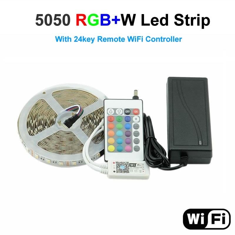 RGB LED Strip 5050 RGBW  5M Strip LED Light RGB and Warm White Flexible 24KEY  Remote WiFi Controller 12V 5A Power Led Strip Kit jrled 36w 2300lm 150 smd 5050 led rgb light strip w 24 key controller 12v 5m