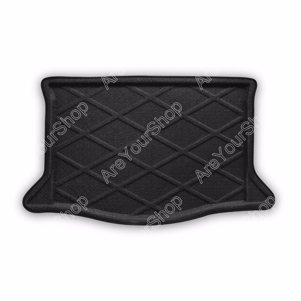Car Auto Cargo Mat Boot liner Tray Rear Trunk Stickers For Honda Fit 2009-2013 1PCS Black High Quality Car-Detector Stickers car rear trunk security shield shade cargo cover for nissan qashqai 2008 2009 2010 2011 2012 2013 black beige