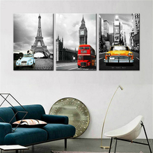 Paris Tower Big Ben New York City Black and White Poster Canvas Print Home Decor Wall Art Painting for Office Room