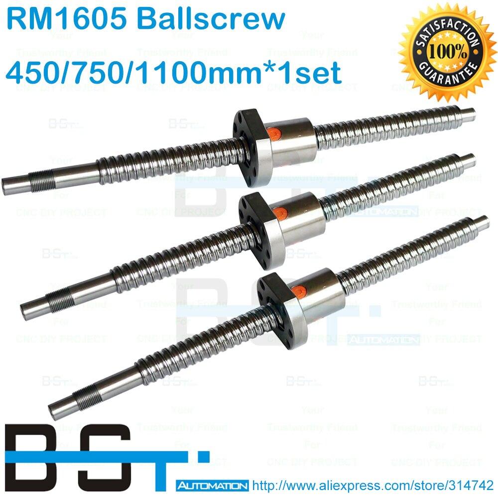 Bstmotion 1605 комплект шариковых винтов RM1605-L 450 мм/750 мм/1100 мм резьбонакатный винт+ 1605-3 станков с конец механической обработке