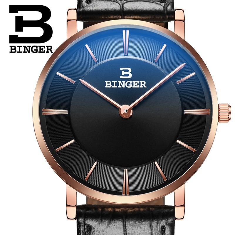Cheap 2016 New Couple Watch BINGER Slim Style Women Fashion Quatrz Watch Men Business Wristwatch Leather Strap B-9013G