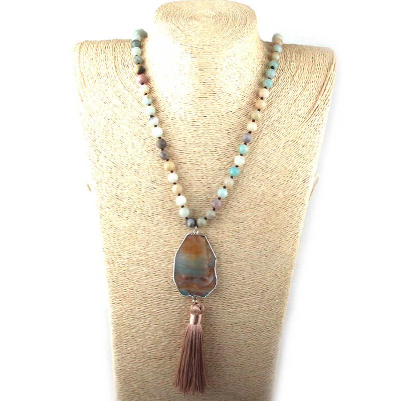 ファッションボヘミアンジュエリーグレー/白石結び目石タッセルネックレス女性のためのエスニックネックレス