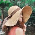 Venta caliente 2016 de Moda Al Por Mayor y Al Por Menor Mujeres de La Manera Grande Ancho Brim Floppy Summer Beach Sun Sombrero de Paja Con El Arco Del Carruaje