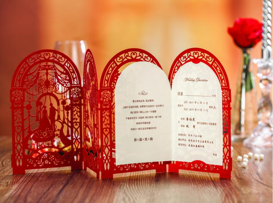 3d castle chinese wedding invitation cardsluxury laser cut invitations card party kits convite 100pcs express shipping in cards invitations from home - Chinese Wedding Invitations