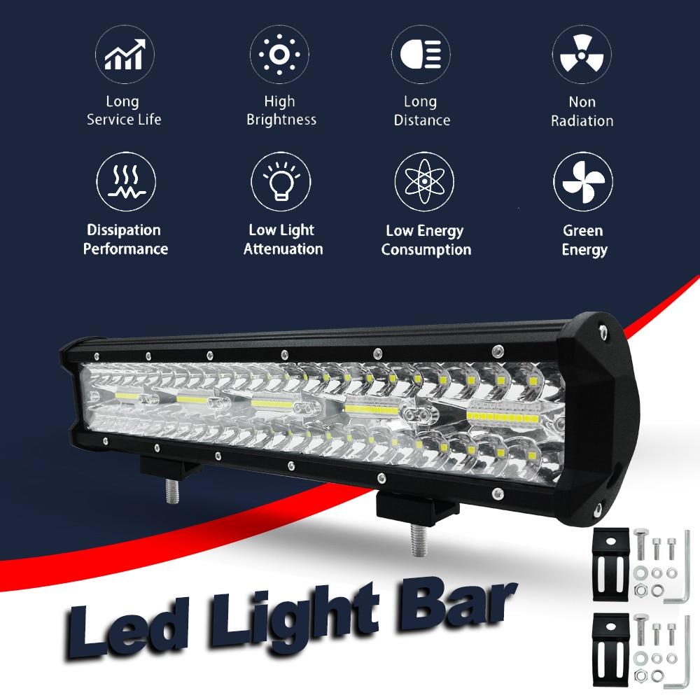 Car Work Light Driving Fog Light 15inch 300W LED Light Bar Spot Flood Combo Beam Road
