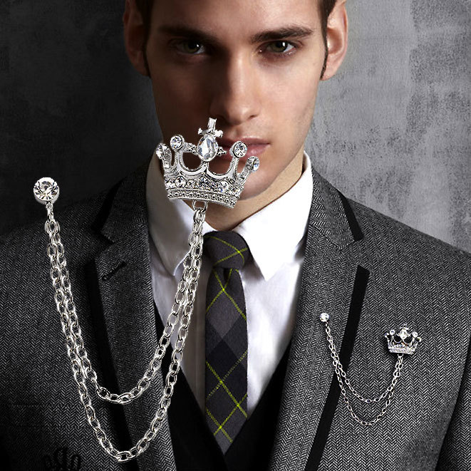 f28bd20c497 US $0.86 13% OFF Brand Unisex Brooches For Women Jewelry Men's Suits  Accessories Crystal Crown Lapel Pin Collar Lapel Pin Badge Brooch  Wholesale-in ...